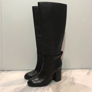 Tory Burch Contraire Black Leather Tall Heel Boots
